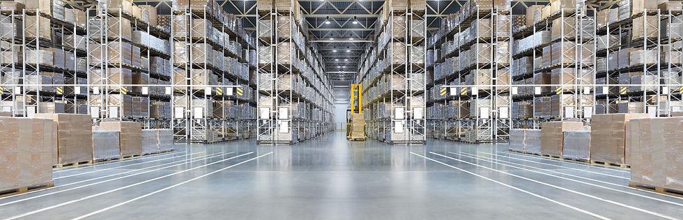 Huge distribution warehouse with high sh