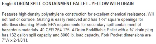 Capture eagle 4 drum spill containment s