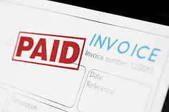 Close-up picture of an invoice with red
