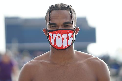 """Red & White Stars """"Vote"""" Fashion Mask"""