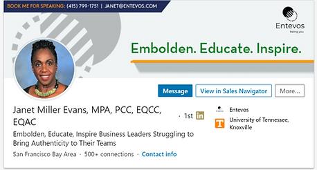 Janet Miller Evans LI Banner in Profile.