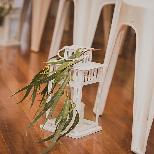 White Lantern with Pillar Candle