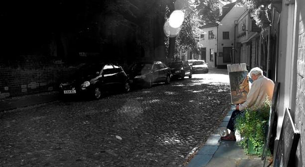 Malarz w plenerze miejskim, Norwich, 2007