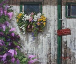flowers on the woodwall
