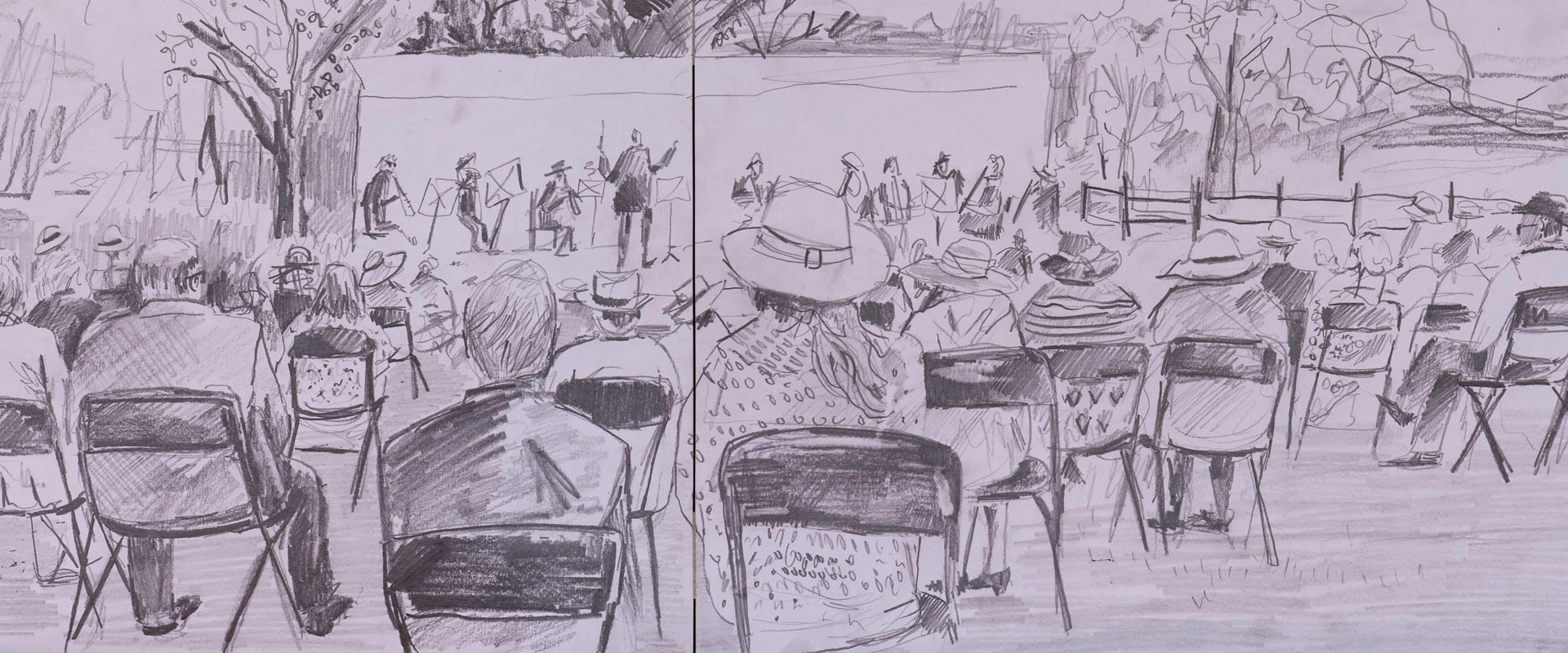 """""""Socially Distanced Ruperts Wearing Panama Hats"""" (a sketch from the outdoor concert)"""