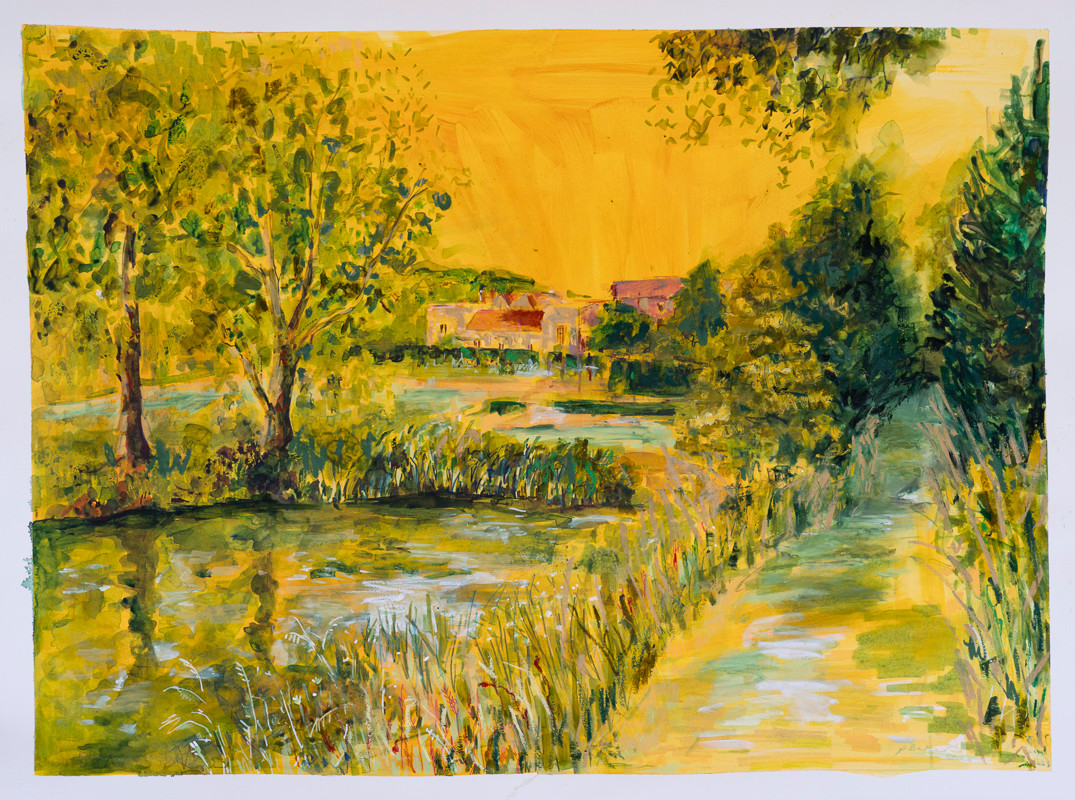 SOLD: Glyndebourne Lake in yellow