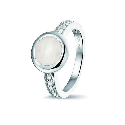 Zilveren ring, rond, zirkonia scheen