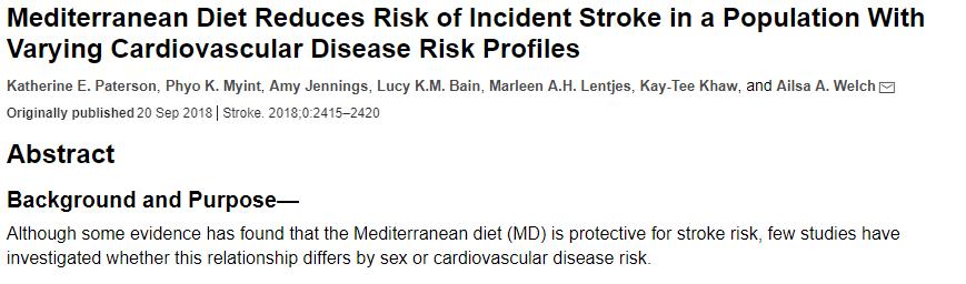 Mediterranean diet reduces risk
