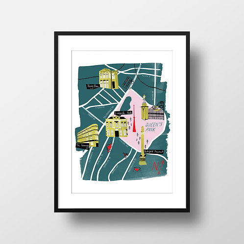 A4 Giclee Print - Glasgow Shawlands Illustrated Map Teal