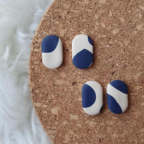 Navy/Cream Patch 'Pill' Polymer Clay Earrings