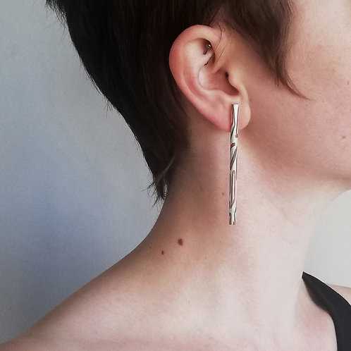 Statement Silver with Copper Inlay Earrings