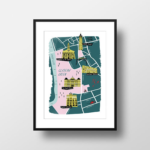 A3 Giclee Print - Glasgow East End Illustrated Map Teal