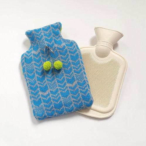 Chevron Lambswool Mini Bottle Cover, Grey and Gulf Stream