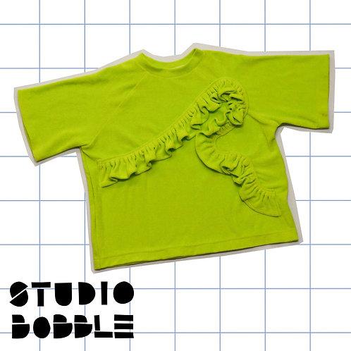 Fluo Green Frill Terry T-Shirt