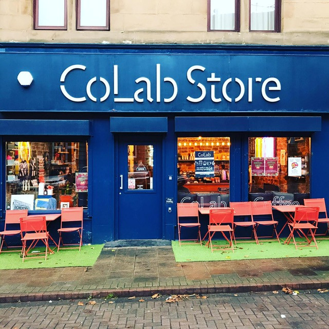 COLAB STORE, GLASGOW 'We are an independent lifestyle store with in-house coffee shop based in the Partick, in the heart of the West End. We offer a unique space with great gift ideas and hot drinks and cakes. We try to offer brands that you can't get elsewhere. We started in Dec 2017 and designed the store through our love of art, design and travel. We've been influenced by various places we've visited and all brands are hand picked by us.'