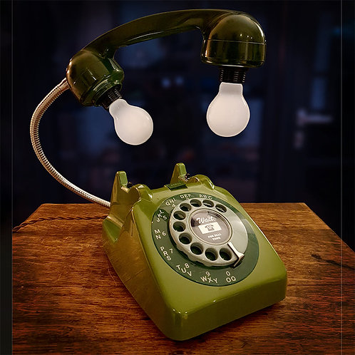 Upcycled Retro Green Telephone Lamp
