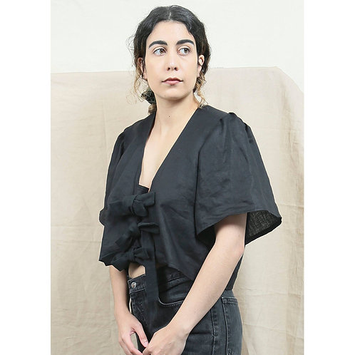Puffy Sleeve Tie Blouse