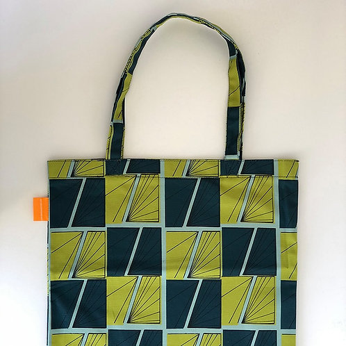 Tote bag - Signals Waves - Blue and Green