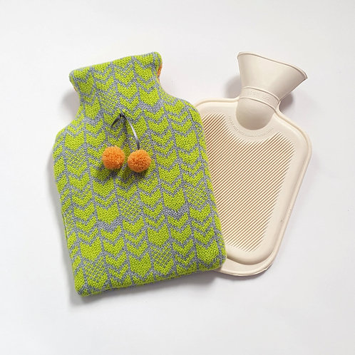 Chevron Lambswool Mini Bottle Cover, Grey and Pistachio