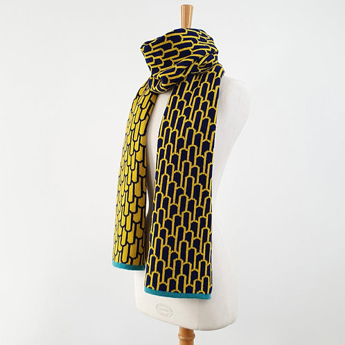 Arch Lambswool Scarf, Navy and Piccalilli