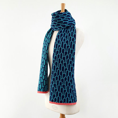 Arch Lambswool Scarf, Navy and Shamrock