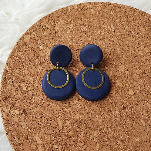 Large Navy Circle drop earrings with Brass Charm