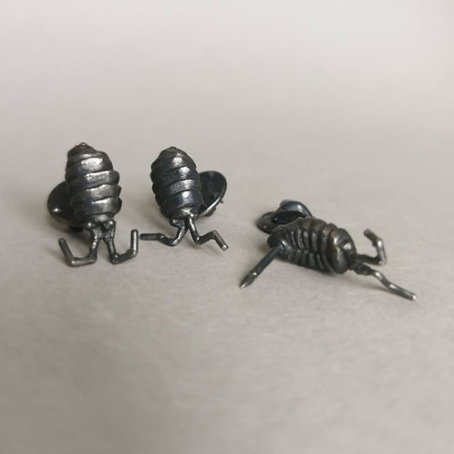 Wee Beastie pin - oxidised silver