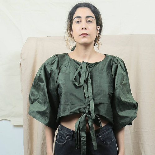 Silk Blouse With Puffy Sleeves