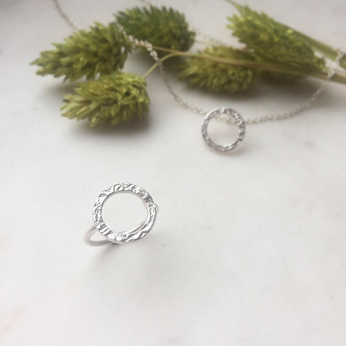 Etched Silver Ring or Pendant