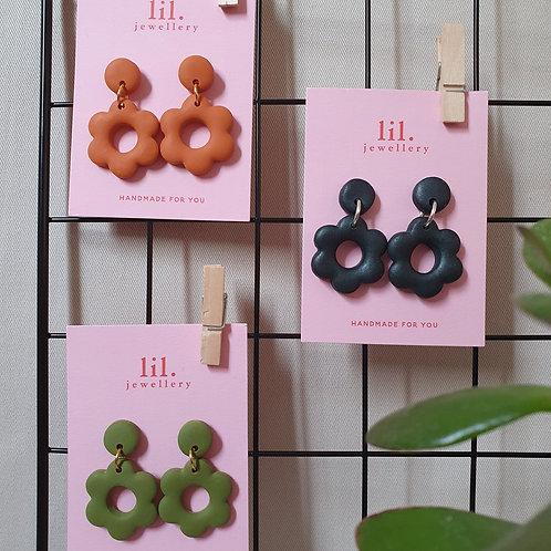 One Tone Floral Drop Earrings