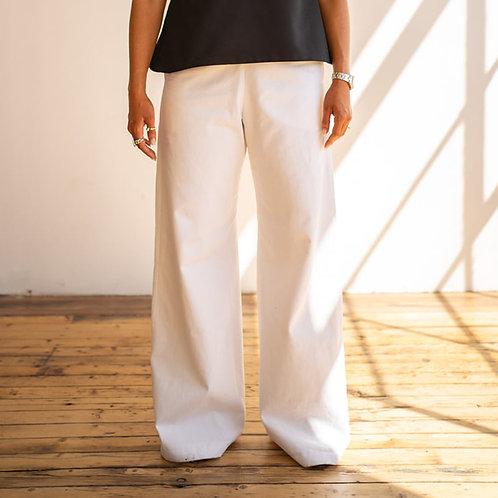Wide Leg trousers in organic cotton twill