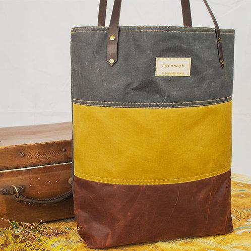 """MORVEN"" Waxed Canvas Tote Bag - Grey/Ochre/Rust"