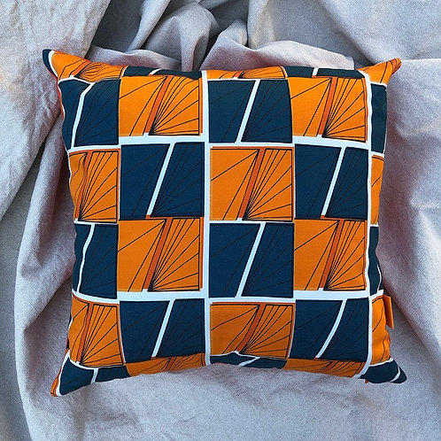Cushion -Signals Play - Orange and Blue