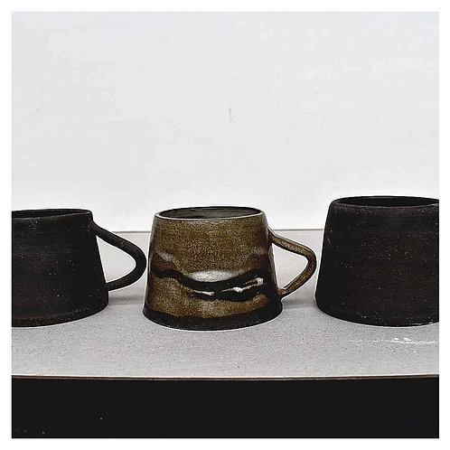 Black stoneware espresso cups