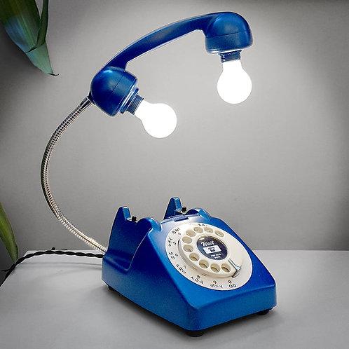 Upcycled Retro Blue Telephone Lamp