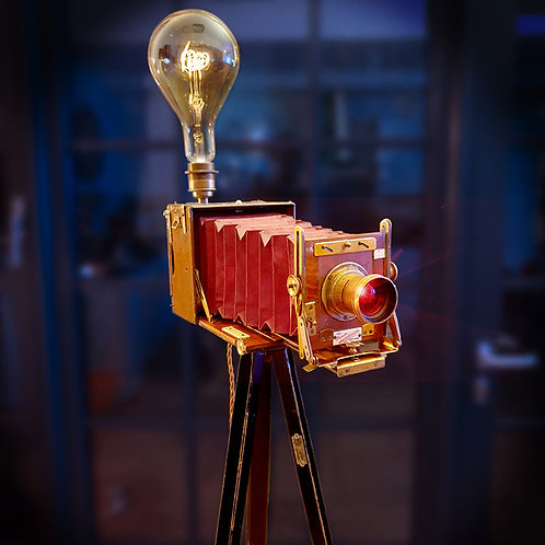 Upcycled Antique 1904 Junior Sanderson Red Bellows Camera Tripod Lamp