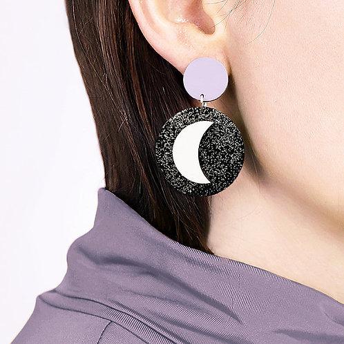Neoma Circle Moon Earrings (Customisable)