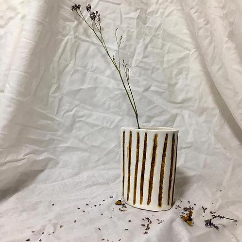 Stripe Jug - White
