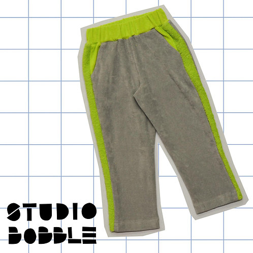 Grey/Fluo Green Towelling/Terry Trousers