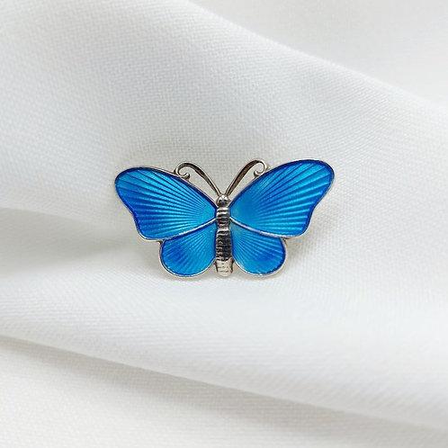 Vintage Norwegian Silver Blue Enamel Butterfly Brooch
