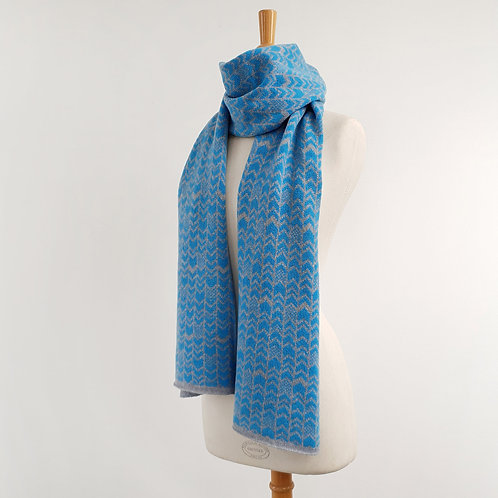 Chevron Lambswool Scarf, Grey and Gulf Stream