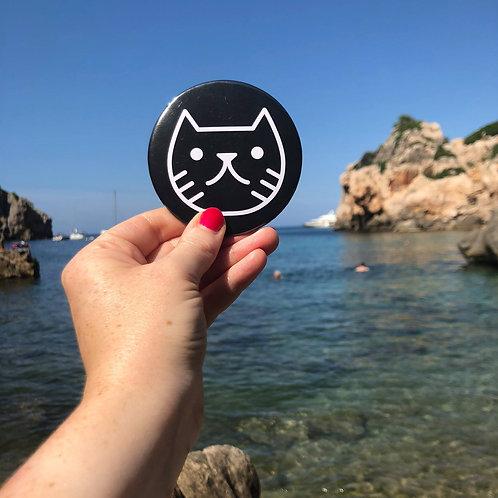 Black Cat Face Pocket Mirror