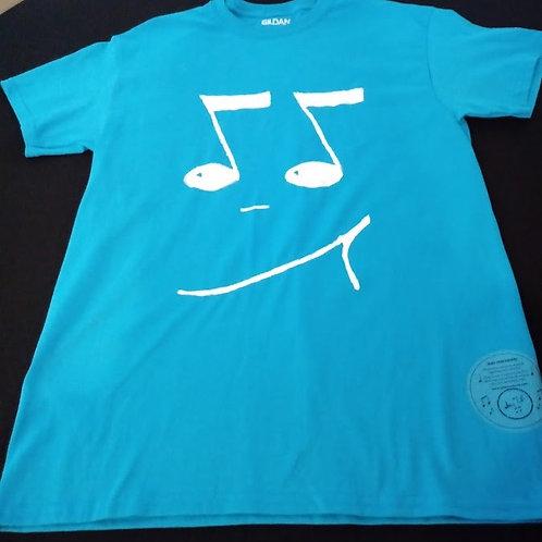 Adult Medium-50/50 blend-Tagless T-Shirt-White 8th notes