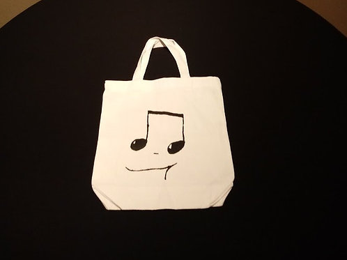 White Small Fabric Tote Bag; Black 16th notes
