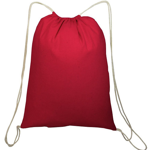 Red: Small Canvas Drawstring Backpack/Cinch pack
