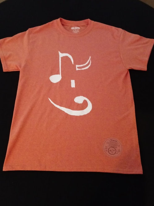 Adult Medium-50/50 blend-Tagless T-Shirt-white 8th note wink/bass clef mouth