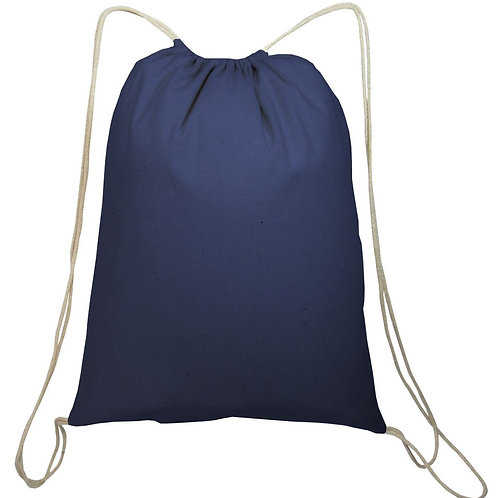 Navy Blue: Small Canvas Drawstring Backpack/Cinch pack