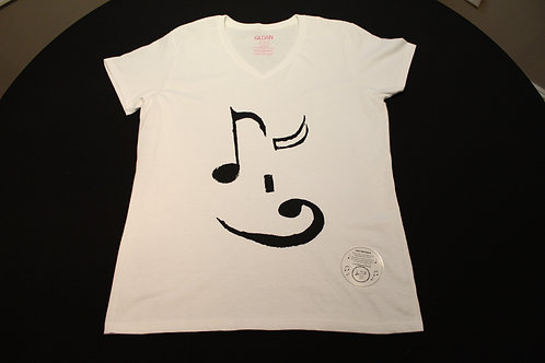 Ladies Large Fitted V-Neck 50/50 blend-Tagless-Black 8th note 'wink'/bass clef