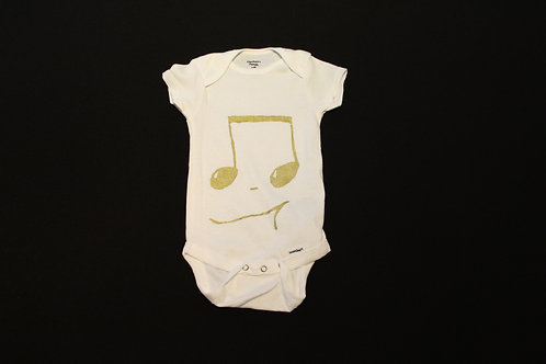 6-9 months gold 16th Notes unisex baby onesie -100% Organic cotton