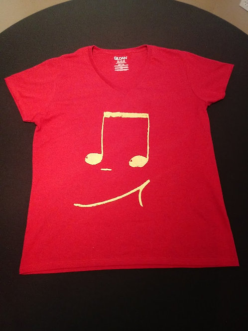 Ladies XL Fitted V-Neck 50/50 blend-Tagless-Gold 16th notes